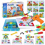 223 Pieces Creative Mosaic Drill Set for Kids, Toy Drill and Screwdriver Puzzle Kit, STEM Engineering Education Learning Building Block Toys, Game Activities Center for Kids Ages 3-10 Years Old