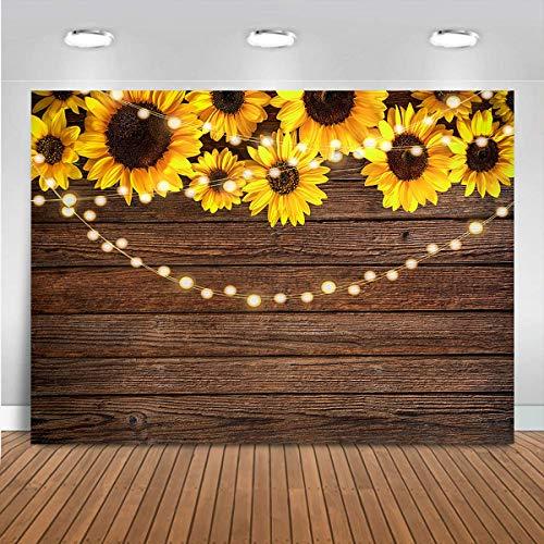 Mocsicka Sonnenblumen-braune Holzhintergründe, rustikale Holzblumen, Baby-Party, Fotografie-Hintergrund, Vinyl-Lichterkette für Kinder, Portrait-Banner, Dekoration, Fotoautomaten (1,5 x 0,9 m)