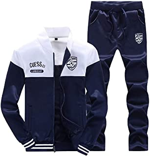 GAGA Mens Tracksuits Bodybuilding Running Contrast Casual-Suits Outfits Sweatshirt Print 2 Pieces Suits Tracksuits 1 Small