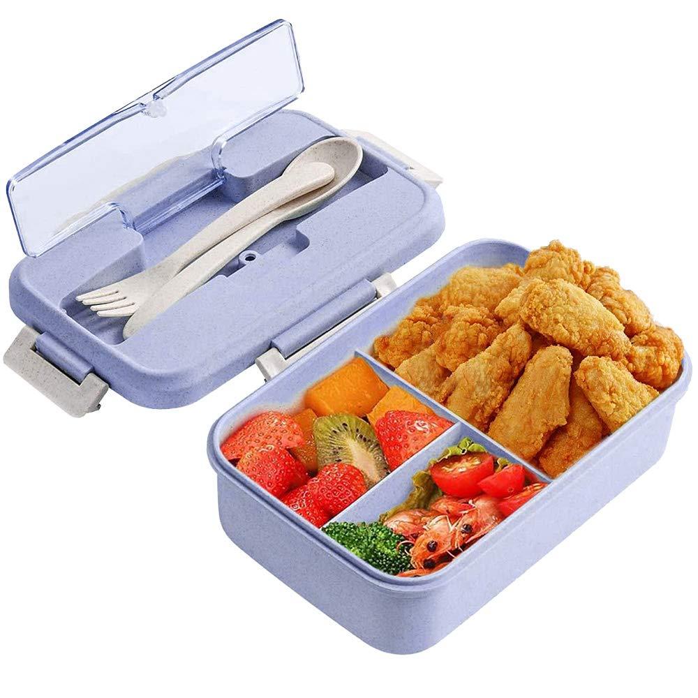 ZoneYan Caja de Bento, Lunch Box Infantil, Fiambreras con 3 Compartimentos, Cuchara Tenedor Lonchera, Fiambreras Caja de Almuerzo Ideal para Microondas (púrpura): Amazon.es: Hogar