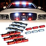 Red White 54X LED Flashing Emergency Warning Light for Dash Visor Deck Grille - Interior Strobe Lights For Volunteer Firefighter Vehicles