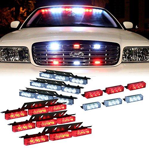 Red White 54X LED Flashing Emergency Warning Light for Dash Visor Deck Grille - Interior Strobe Lights For Volunteer Firefighter Vehicles