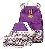 Goldwheat Fashion Canvas Backpack School Bag Casual Bookbag Laptop Shoulder Daypack Handbag Purse for Teen Girls Boys (Purple)