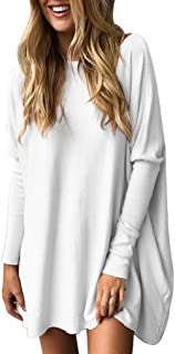 TUDUZ Blouse Women's Blouse Casual Round Neck Loose Long Sleeve Pullover Tops Blouse Medium White