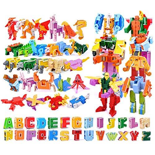 Dinosaurios Robot Juguetes, Transformer Puzzle Juguete Regalos,Rompecabezas De Juguete 26 Letras + Dinosaurio + Animal + Robot Puede Ser Montado,Adecuado para Niños De 0-9 Años