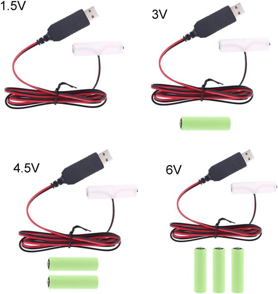 C/âble adaptateur dalimentation USB LR6-300 cm Jiamins Pour remplacer 1 /à 4 piles AA