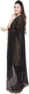 Dupatta Bazaar Women's Semi Chiffon Dupatta With Gold Lace Border