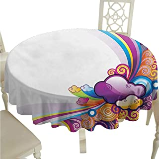 Round Tablecloth Black Cartoon,Kids Children Theme Rainbows Colored Clouds Lines Rounds Suns Print Image Print,Multicolor D70,for Umbrella Table