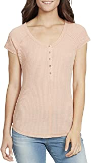 William Rast Women's Geneva Reglan Sleeve Henley Top Henley Shirt