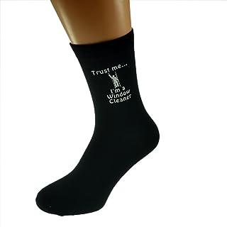 Trust me I'm a Window Cleaner & Image Design Mens Black Cotton Rich Socks