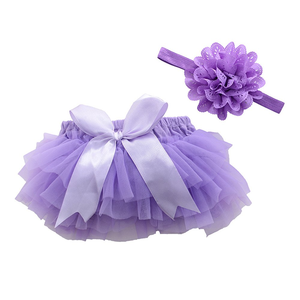 Purple, M 6Month-12Month muyan Girls Cotton Tulle Ruffle with Bow Baby Bloomer Diaper Cover and Headband Set