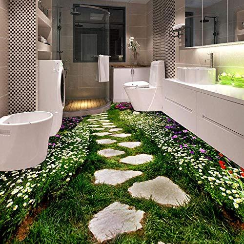 Papel pintado mural personalizado 3D flores creativas camino azulejos pegatina baño cocina dormitorio vinilo impermeable Papel De Parede 3D-350 * 245cm