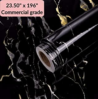 Black Marble Commercial Grade Contact Paper Self Adhesive Removable 23.50