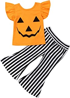 Toddler Halloween Outfits for Girls, Baby Girl Ruffle Sleeve Pumpkin Top+Striped Bell Bottom Flare Pants Clothes Set