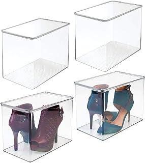 mDesign Juego de 4 cajas para guardar zapatos – Cajas de plástico apilables para ordenar zapatos de tacón y botas – Cajas para armarios o para el pasillo – transparente