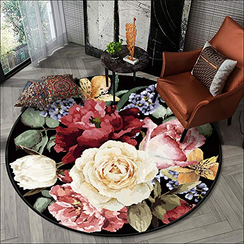 Modern Floral Area Rug,5Ft Round Rug Colorful Area Rug Comfortable and Durable It is The Best Choice for Living Room and Bedroom,3'3""