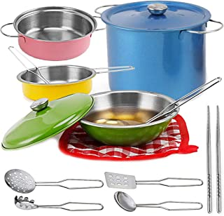 Liberty Imports Multicolored Stainless Steel Metal Pots and Pans Kitchen Cookware Playset for Kids with Cooking Utensils Set