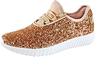 ROXY-ROSE Women`s Glitter Tennis Sparkly Jogger Sneaker Red Silver White Black Stylish Shoes