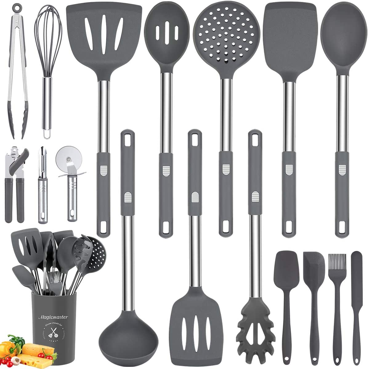 Silicone Utensil Regular store Set 18pcs Kitchen Holder Utensils with St low-pricing