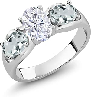 925 Sterling Silver 3-Stone Ring Forever Brilliant (GHI) Oval 0.90ct (DEW) Created Moissanite by Charles & Colvard and Aquamarine