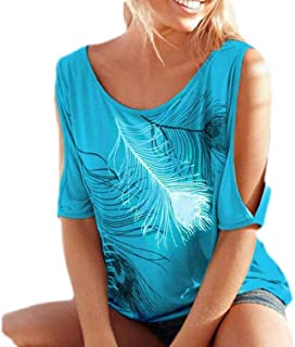 S-Fly Womens Print Top Short Sleeve Plus Size Cold Shoulder T-Shirt Tee