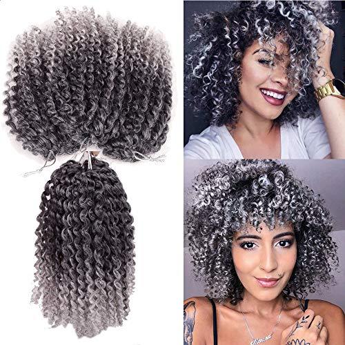 Kinky Curl Short Hair style 8Inch Afro Kinky Twist Hair Sharopul 3little pcs/pack Soft Synthetic Crochet Braiding Hair Extention (1B/GREY)