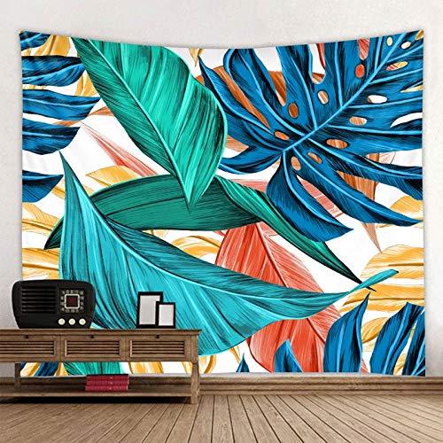KHKJ Tapiz de Mandala con Estampado de Hojas de Plantas, Tapiz psicodélico para Colgar en la Pared, tapisserie Bohemio, Alfombra de Pared Floral de Murale, Toalla de Playa A1 150x130cm