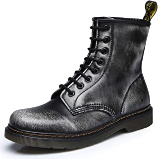 Women Fashion Leather Waterproof Ankle Bootie Casual Lace Up Short Combat Boots for Girls