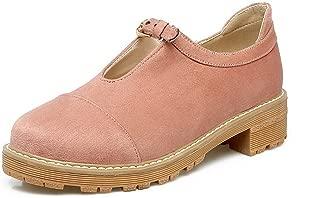 Women's Soild Pu Low-Heels Closed-Toe Buckle Pump-Shoes