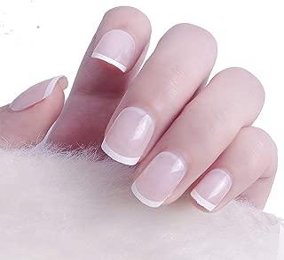 MISUD French Fake Nails 24 Pcs Square Classic Natural Nails Full Cover Medium Press-on Nails Art False Nails Tips