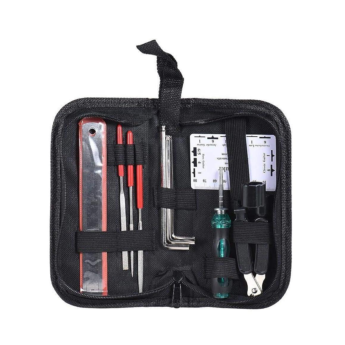 10Pcs Guitar Care Repair Wrench Ruler Maintenance Tech Kit with Bag - Musical Instruments Guitar Parts - 1 String Organizer, 1 String Action Ruler, 1 Gauge Measurer