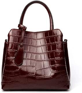ZXK New Retro Casual Fashion Bills Shoulder Slung Large Capacity Women's Bag Leather Handbag Fashion (Color : Brown)