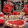 Palloncini a Forma di Cuore, MMTX Lattice Palloncini e Pompa e Candele Rosse, Seta Petali,Cuore Rosso Grande per Matrimoni, Anniversari, San Valentino (Cuore) #3