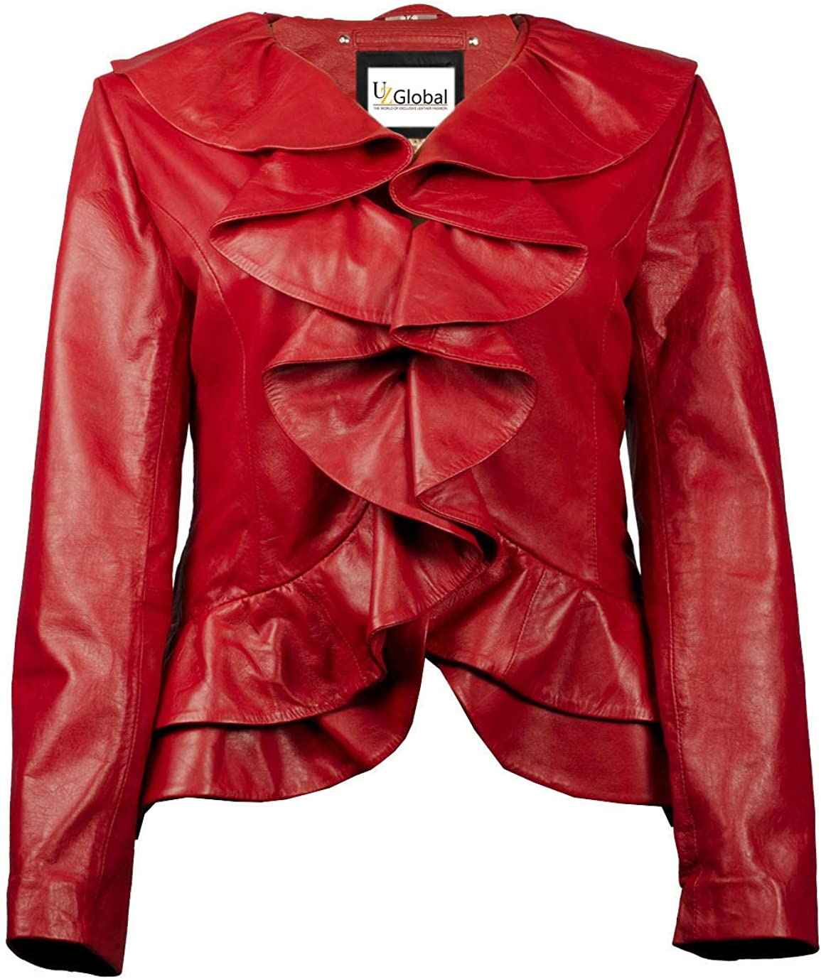 The UZ Global Ruffled Bella Red Womens Faux Leather Jacket - Synthetic Leather Jacket for Women