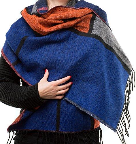 FEINZWIRN - übergroßer XXL Schal mit trendigem Farb-/Mustermix Karo (blau-orange-grau)
