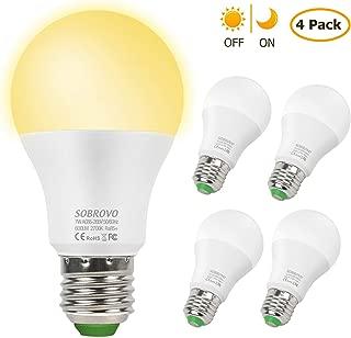 Dusk to Dawn Light Bulbs,4 Pack 7W Sensor Lights Bulbs Smart Lighting Lamp with Auto on/Off,E26/E27 Lighting Lamp for Yard Porch Patio Garage Garden(2700K Warm White)