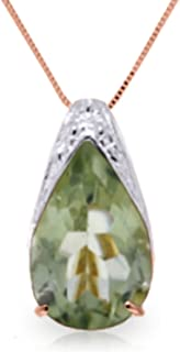 ALARRI 8.5 Carat 14K Solid White Gold Love Like Ballet Green Amethyst Necklace with 22 Inch Chain Length