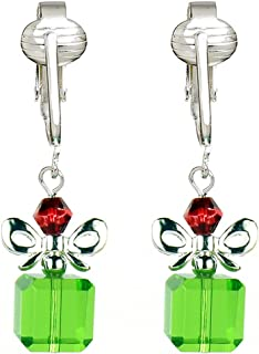 Fun Christmas Clip-on Earrings for Ladies & -Angels, Trees, Santa Holiday, Snowman