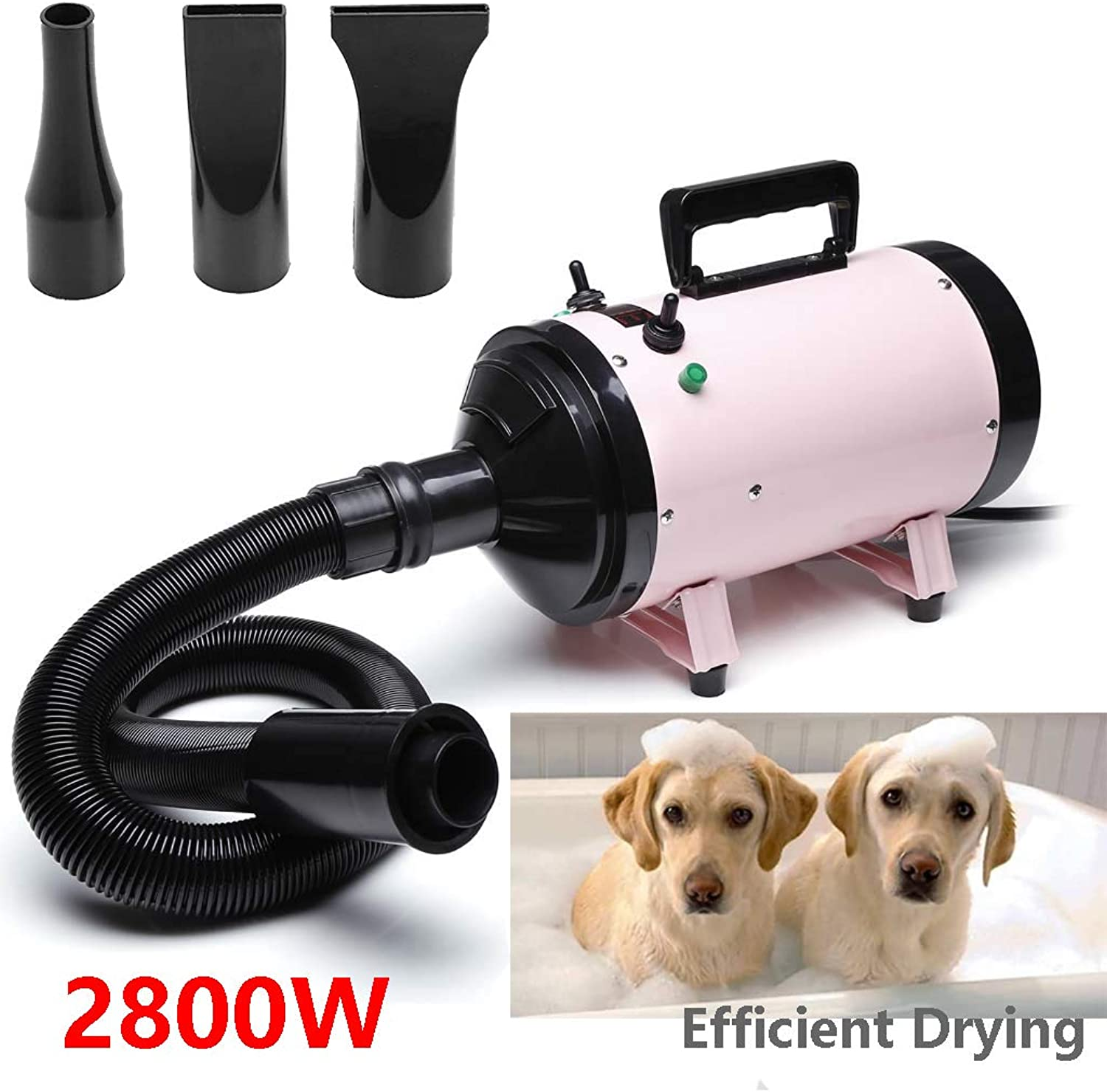 Cat Grooming Blaster Blower Pet Dog Hair Fur Dryer Hairdryer Heater Low Noise 2800W, 2Stage Speeds, With 3 Nozzles and a Extension Hose
