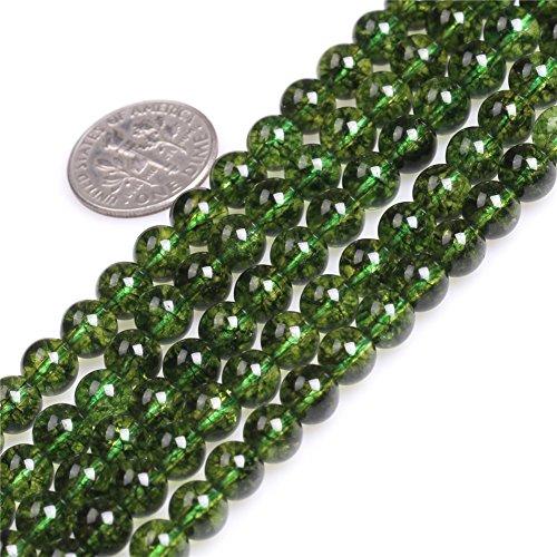 Sweet & Happy Girl's Store Halskette Perlen Peridot rund 6mm mehrreihig Grün 38cm