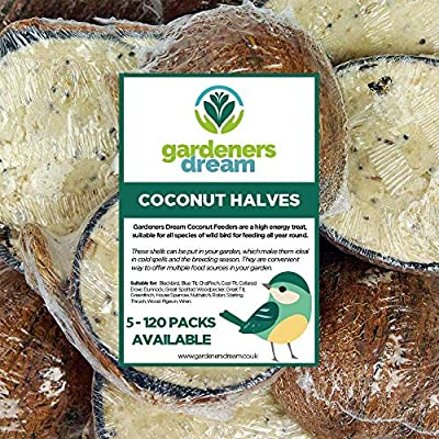 GardenersDream Suet Filled Coconut Halves | Premium Wild Bird Food | Protein-Rich, High Energy Feed | Sunflower Seeds and Cereal Oat | Healthy Development for Birds | Year-Round Feeding (5 Pack) from GardenersDream