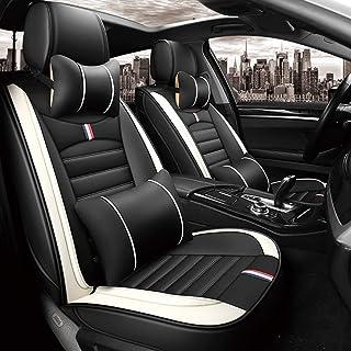 Autositzbezüge Leder Set, 5 Sitzer Auto Universal Leder Motion voller Satz von vier Jahreszeiten Pad kompatibel mit Airbag Kissen (Farbe : Gray)