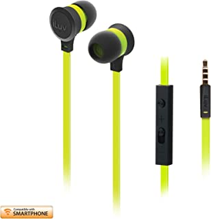 iLuv I-EP336GRNN In-Ear Earphones NEON-SOUND In-Line Mic Remote+Vol Ctl For Android & iOS Flat Cable, Black Green