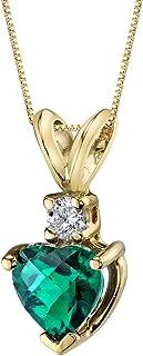14 Karat Yellow Gold Heart Shape 0.75 Carats Created Emerald Diamond Pendant