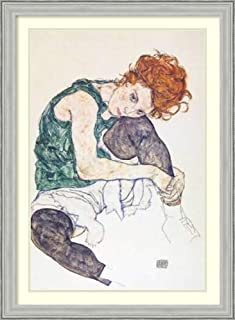 Framed Wall Art Print Seated Woman with Bent Knee by Egon Schiele 26.75 x 36.50
