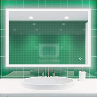 ROGSFN 36'x28' LED Hard Wire Rectangle Frosted Backlit Fogless Bathroom Vanity Mirror Lighted Framelss Makeup Wall Mounted...