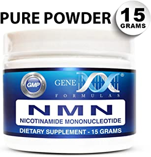 Genex NMN Nicotinamide Mononucleotide (15 Grams) - Certified 99% Pure Powder   Works Best When Paired with Resveratrol   Direct NAD+ Supplement More Stable Than Riboside