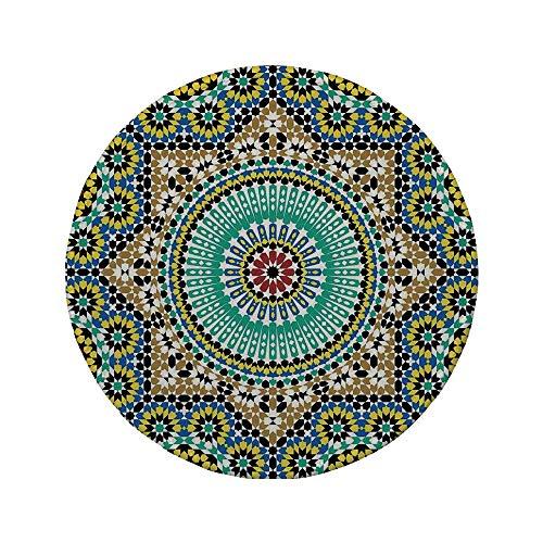 Rutschfreies Gummi-Rundmaus-Pad marokkanisches Dekor architektonische Glasur Dekorative Wandfliesen Keramische historische Reiseziele 7,87 'x 7,87' x 3 mm