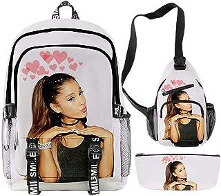 Ariana Grande Mochilas Estampadas para Hombres y Mujeres Estudio de Carga USB de Tres Partes Estuche para lápices Bolso de Hombro con un Hombro Bolsillo para papelería (39)