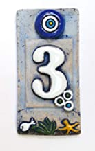 Ceramic Tile House Address Numbers, 4.72inch X 2.28inch, Hand Decorated, House Number Signs, Door Numbers, Vintage Housewarming Gifts (Number 3)